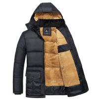 中年爸爸装冬季男装冬装外套中老年男士棉袄加绒加厚棉衣 黑色