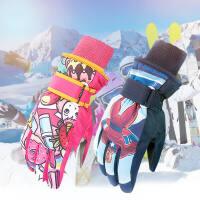 户外保暖儿童滑雪男女童冬季款加绒保暖手套防水可爱卡通