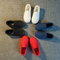 儿童帆布鞋男童女童鞋子小白鞋宝宝布鞋一脚蹬2018春新款