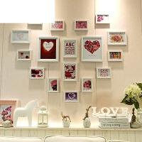 艾欧唯 简约心形照片墙贴纸装饰相片墙相框墙挂墙组合夹子悬挂无痕钉网格