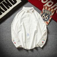 春季新款帅气修身白色衬衫寸衫男士加肥大码长袖衬衣韩版潮流男装