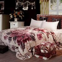 拉舍尔婚庆大红毛毯被子双层加厚冬季结婚陪嫁珊瑚绒双人盖毯