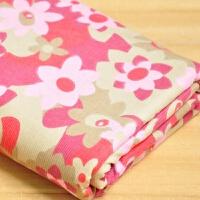棉印花细条薄料灯芯绒布料 服装棉袄条绒面料 一件0.5m 宽140cm 粉红花朵