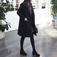 黑色呢子大衣女中长款韩国2018秋冬新款学生优雅加厚毛呢外套韩版