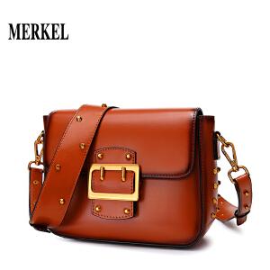 莫尔克MERKEL2018新款潮牛皮铆钉小方包休闲时尚百搭复古单肩斜挎包