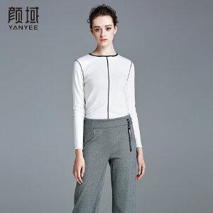 颜域品牌女装2017秋冬新款女士欧美打底衫显瘦半高圆领针织衫上衣