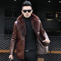 领皮毛一体男 海宁皮衣羊毛内胆中长款可拆卸狐狸毛领外套