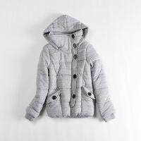 冬装女棉衣 可脱卸连帽学院风螺纹加厚外套C