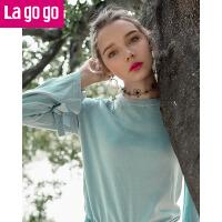 【清仓3折价107.7】Lagogo2019春季新款时尚圆领微喇长袖针织衫女喇叭袖套头打底衫