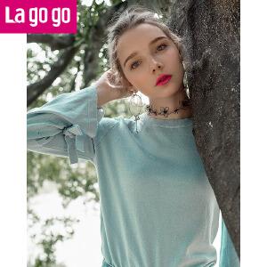 Lagogo2018春季新款时尚圆领微喇长袖针织衫女喇叭袖套头打底衫