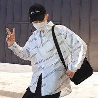秋装白色衬衣秋季衣服港风衬衫男长袖韩版碎花 反光衬衫