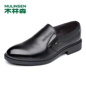 木林森男鞋 男士套脚头层牛皮商务休闲鞋 05377103
