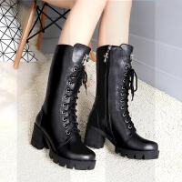 马丁靴女英伦短靴女粗跟高跟靴子女系带中筒靴棉鞋女冬女加绒SN8252