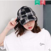 潮款时尚女士格子帽韩版书包扣学生帽棒球帽子女字母刺绣鸭舌