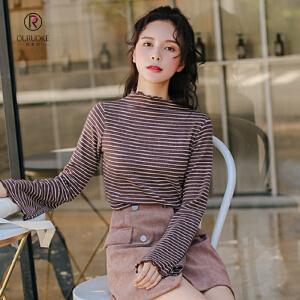欧若珂 秋季新款2018韩版半高领喇叭袖横条纹打底衫女高弹力修身长袖T恤
