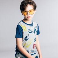 【3件3折:59.7元】暇步士童装男童夏季新款纯棉印花拼接圆领衫