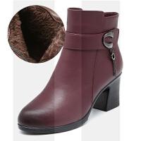 妈妈棉鞋女冬季加绒保暖中年中跟短靴防滑中老年女鞋舒适女士棉靴SN7308