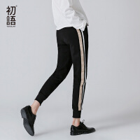 初语秋新款撞色条纹织带抓绒束脚运动裤卫衣裤修身小脚裤#