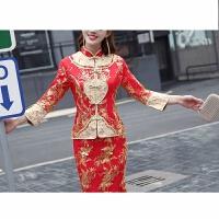 红色敬酒服旗袍新娘结婚礼服绣合女中式婚纱龙凤褂嫁衣显瘦秀禾服 红色