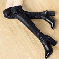 过膝长靴2018新款女鞋冬季高跟韩版加绒长筒女靴子百搭粗跟高筒靴 黑色