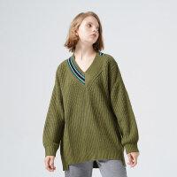 【2件2.5折到手价:43.75】美特斯邦威针织衫女新品V领潮流时尚套头毛衫
