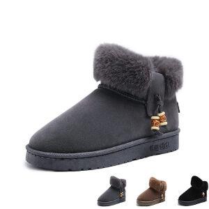 WARORWAR 2019新品YM161-2199冬季欧美平底鞋舒适兔毛女鞋潮流时尚潮鞋百搭潮牌雪地靴