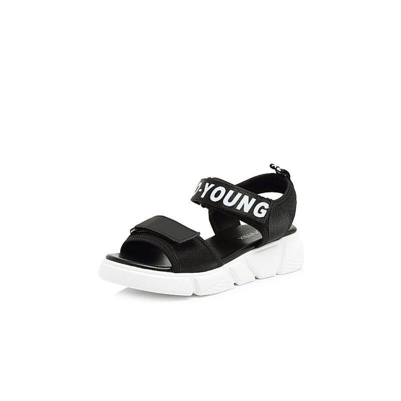Teenmix/天美意2018夏专柜同款时尚字母厚底休闲风女凉鞋AR281BL8