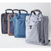 纯色简约手提包休闲箱包旅行袋旅行双肩背包女轻便时尚行李包男大容量