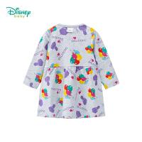 迪士尼Disney童装索菲亚公主满印连衣裙女宝宝秋季新款高腰拼接纯棉裙子淑女风193Q691