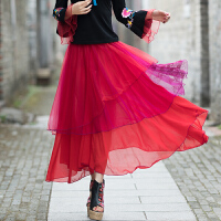 民族风女装连衣裙夏装女中长款复古刺绣网纱长裙雪纺半身裙 红色 雪纺半身刺绣长裙