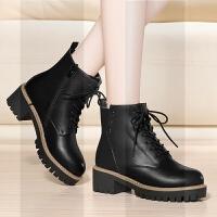 马丁靴女2018新款鞋子女冬季加绒百搭短靴女短筒英伦风平底靴子女SN7118 01黑色