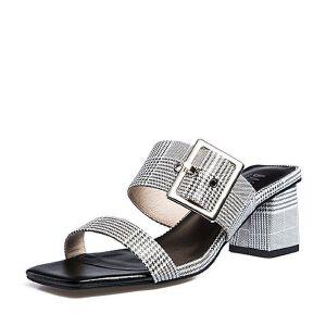 BASTO/百思图2018夏季专柜同款羊皮革简约休闲粗跟女凉拖鞋RNL03BT8