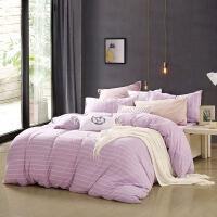 针织棉四件套全棉裸睡纯棉床上用品简约风套件简·音律