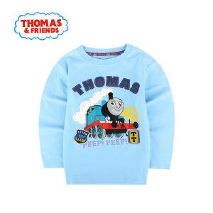 托马斯正版童装男童春装纯棉长袖圆领T恤卡通印花休闲打底衫上衣托马斯和朋友三色选