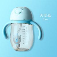 宝宝学饮杯婴儿水杯带吸管手柄便携新生儿童带盖杯子防漏防呛a410