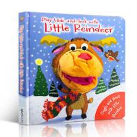 英文原版 Play Hide and seek with Little Reindeer 与小驯鹿玩捉迷藏 圣诞节绘本 趣味玩具书 大开本纸板书 亲子互动 带手偶