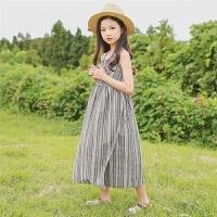 女童吊带连衣裙夏季棉麻裙子新款公主裙中大童裙子韩版沙滩裙