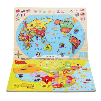 ?中国地图木质世界拼图3-4-6-7周岁儿童积木玩具男女孩?