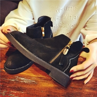 欧洲站秋季新款真皮短靴女侧拉链切尔西女靴短筒粗跟学生舒适女鞋