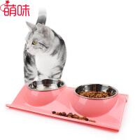 萌味 宠物食具 不锈钢糖果色饮水喂食2合1防漏双碗带彩盒包装狗食盆猫粮碗宠物用品