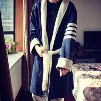 韩版冬季情侣男女士法兰绒睡袍加绒加厚冬天珊瑚绒浴袍家居服浴衣