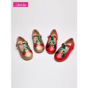 笛莎童鞋女童皮鞋2018秋季新款小童撞色童趣公主皮鞋女童鞋子