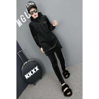 冬季新款运动套装女加绒加厚中长款卫衣小脚裤两件套 黑色