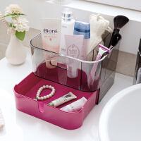 塑料化妆品收纳盒韩式透明储物盒办公室桌面抽屉式收纳盒子化妆盒