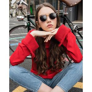 Lagogo2018春季新品女装纯色套头针织衫上衣女秋冬开叉毛衣短款