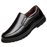 皮鞋男冬季加绒保暖棉鞋40中年人50真皮60岁中老年防滑软底爸爸鞋 黑色 加绒款