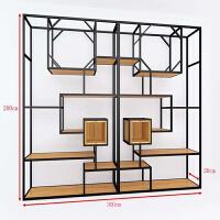 实木隔断置物架书架工业风玄关格子架loft办公室屏风铁艺隔板架子