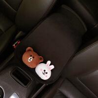 创意汽车扶手箱垫通用性车内毛绒卡通可爱扶手套车载内饰女 熊兔 扶手垫 黑
