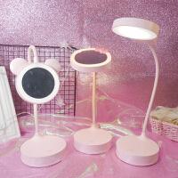 led化妆镜子带灯ins可折叠台式少女生书桌台灯寝室床头灯看书学习