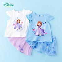 【3件3折到手价:57.9】迪士尼Disney童装 女宝短袖套装 索菲亚公主上衣T恤 夏季网纱拼接短裙